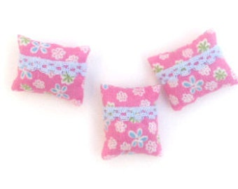 1:12 Set of 3 Miniature pink and blue laced dollhouse pillows