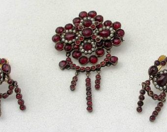 Antique Bohemian Garnet Jewelry: Transitional Brooch/Pendant and Screwback Earrings