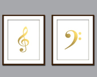 Music Print, Music Studio Decor, Musician Gift, Printable Art, Music Note Decor, Treble Clef, Bass Clef Sign, Wall Poster