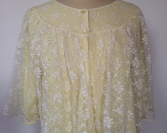 Lace yellow blouse vintage 60s floral babydoll style jacket