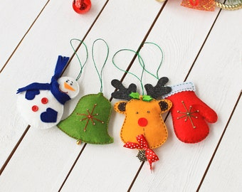 Felt christmas ornaments - pack of 4