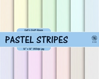 Pastel Stripes Digital Papers - Narrow stripes background - 14 soft pastel backgrounds - pastel & white - Commercial Use - Instant Download