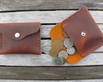 Handmade Leather Coin Purse Pouch Hand Cut And Handsewn Brown/Brown Handcrafted