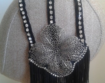 Sparkly black and metal headdress