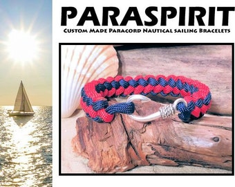 Nautical Bracelet / Rope / Surfer / Beach / Paracord Bracelet with Silver Fish Hook