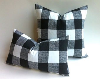 11 Sizes Available: One Black & White Plaid Zipper Pillow Cover Black and white Buffalo Check cotton cushion cover pillow cover 20x20 26ML