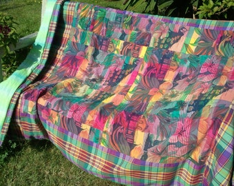 Indian Summer Patchwork Quilt, Picnic Blanket, Lap Quilt, Bed Cover, Sofa Throw