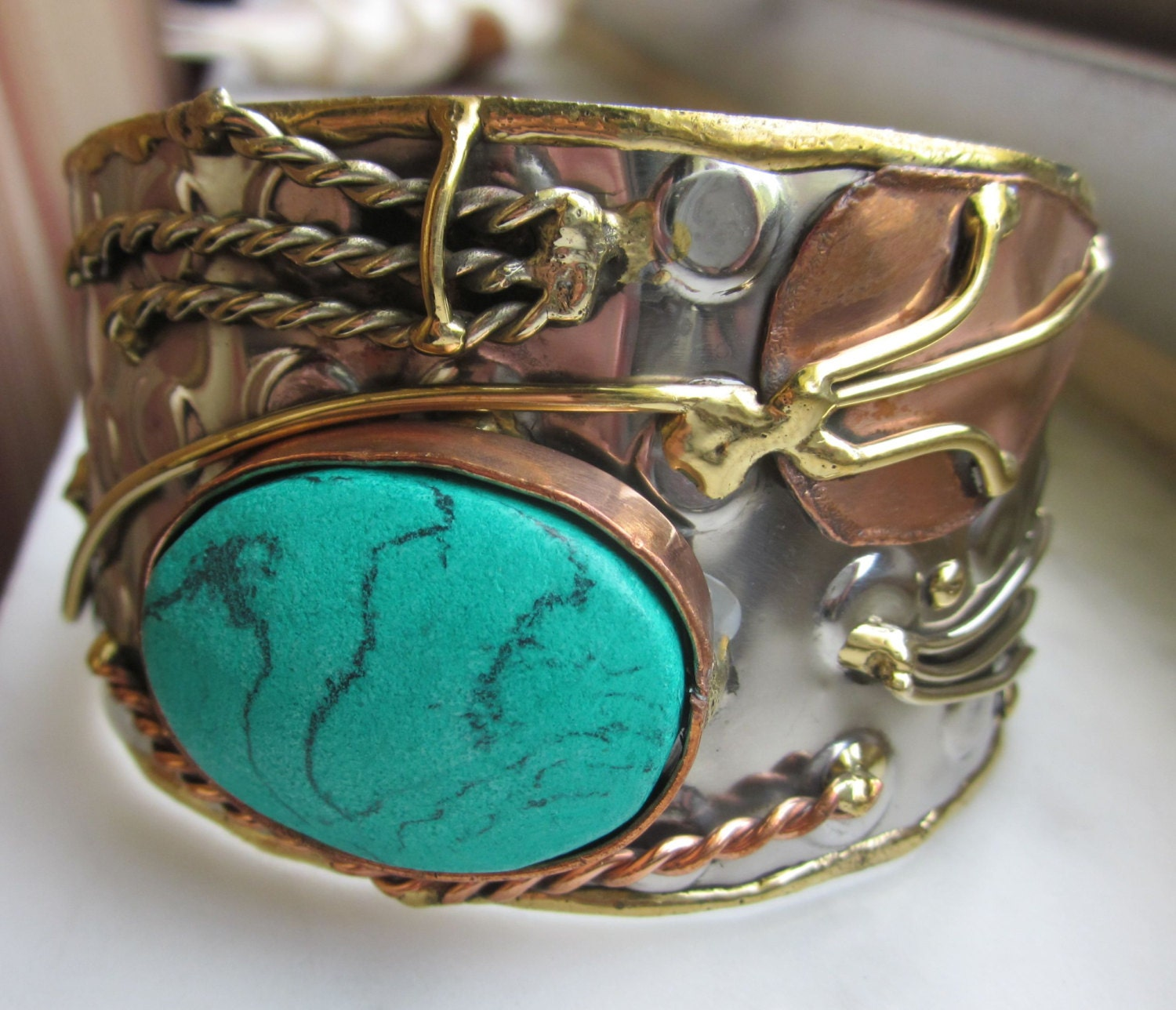 reserved cuff bracelet silver metal copper turquoise composite