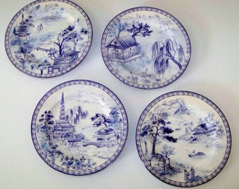 American Atelier Asian Blue Set Of Four Salad Plates
