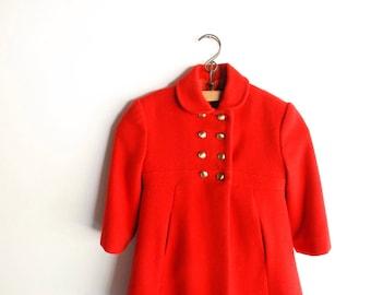 vintage girl's wool coat, childs wool coat, beautiful vintage girl's red wool coat with matching pants, girls winter coat, handmade vintage