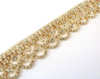 SALE Jeweled Bridal Headband, GOLD HEADBAND, Gold Rhinestone Headband, Hair Jewelry