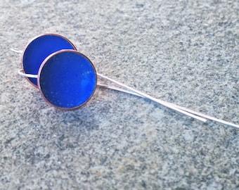 Sapphire Blue Earrings, Blue Enamel Earrings - Sterling Silver Earrings - Hand forged - Modern Organic Jewelry - Boho Chic
