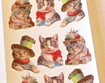 Wonderful new retro Violette Victorian humanized cats kittens with hats stickers sheet for scrapbooking envelopes card making crafts