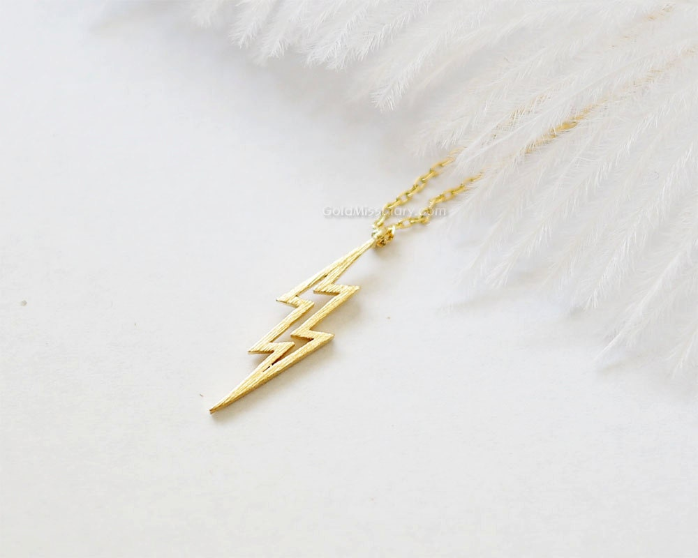gold lightning bolt necklace thunder bolt necklace lightning
