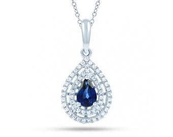 Blue Sapphire Double Halo Pendant