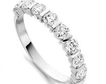 Eternity Ring in White Gold with Real Diamonds 18K 1.00 Carat, Handmade