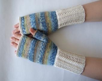 Handmade CREAM, BLUE, MUSTARD ( multicolor ) fingerless gloves, wrist warmers, fingerless mittens. Knitted of wool and polyamide.