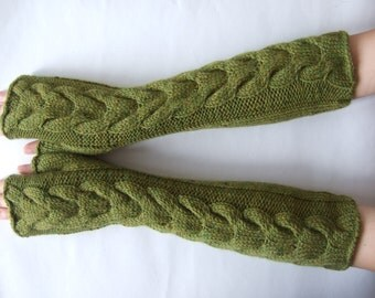 Knitted of ALPACA and WOOL. HANDMADE marl ( yellow / green ) fingerless gloves, wrist warmers, fingerless mittens. Pure wool. Cable gloves.