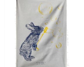 Norman Rabbit Screen Printed Tea Towel