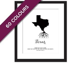 Texas Roots - State Map Art Print - Texas Map - Geography Poster - Texas Art Print - Texas Poster - Travel Art  - Custom State Art Print