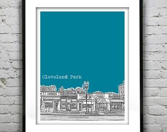 Cleveland Park Washington DC Skyline Poster Art Print