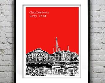 Charlestown Boston Navy Yard Skyline Poster Art Print Massachusetts MA