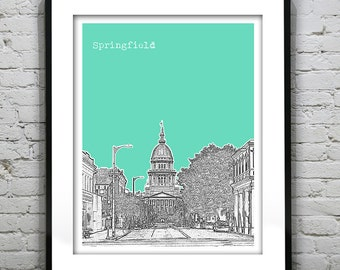 Springfield Illinois Poster Print Art Skyline IL State Capital Version 1