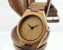Engraved Mens Wooden Watch, Bamboo, Personalized Handmade Wood Watch, Genuine Leather, Christmas Gift, Groom, Groomsmen Gift, Anniversary