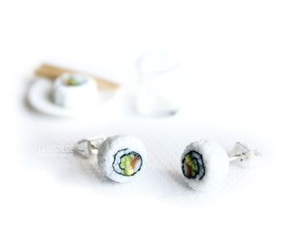 California Sushi, Sushi Earrings,Sushi Rolls,Sushi Jewelry,Stainless Steel Earring,Small Ear Studs,Fun Gifts,Cute Stud Earrings,Kawaii Studs