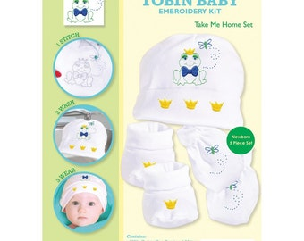 Tobin Baby Embroidery Kit - Take me home set - frog and butterfly