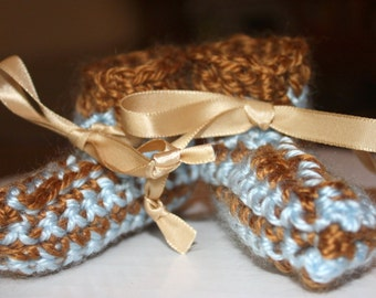 Preemie Boy Striped Booties - Crocheted Booties  - Brown and Blue Booties -  Baby Gift