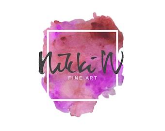 Fine Art logo//Splash logo//Artsy logo//Watercolor splash