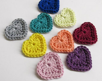 Handmade crocheted heart appliques colorful mix of 9 appliques 1,3 inches