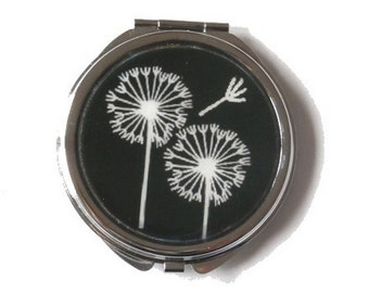 DANDELIONS COMPACT MIRROR - Pocket Mirror - Black and white dandelion - Floral mirror - Makeup Mirror - gift for her