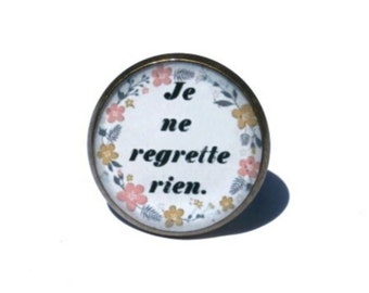 "French ""Je ne regrette rien"" or I regret nothing, Text Poem Ring, Inspiration Jewelry, Quote ring, french quote, love jewelry, gift for her"
