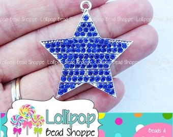 Blue star pendant etsy 42mm blue star rhinestone pendant stripe patriotic dark blue star pendant 4th of july chunky necklace aloadofball Gallery