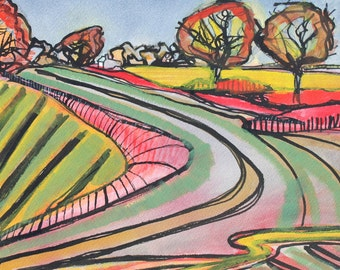 Back Road To Reedham, greeting card with original design by Sarah Cannell.