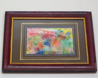 vintage original painting, abstract art, signed and framed
