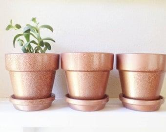 Copper flower pots, faux hammered finish, succulent planters, set of pots, plant containers