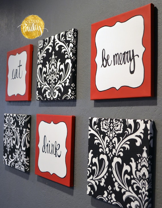 Eat Drink Be Merry Red Black White Wall Art 6 Pack Canvas Wall Hanging Black  Damask Fabric Dining Room Decor Kitchen Art Modern Chef Kitchen