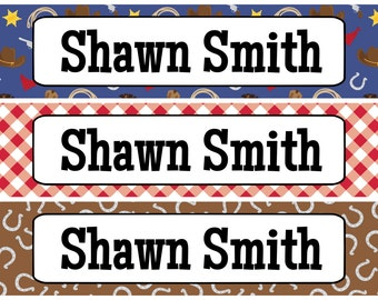 Personalized Waterproof Labels Waterproof Stickers Name Label Dishwasher Safe Daycare Label School Label - Cowboy Patterns