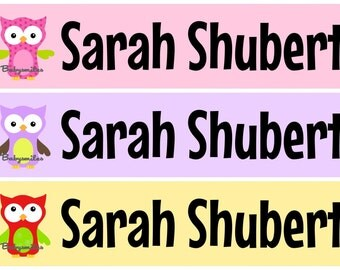 Personalized Waterproof Labels Waterproof Stickers Name Label Dishwasher Safe Daycare Label School Label - Owl Girl