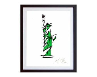 Lady Liberty Art, Statue of Liberty Painting, Americana Wall Décor STATUE OF LIBERTY, Small (Green)