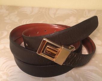 "Vintage Brown Leather ""V"" Belt -Size 35""-43"" -Made in Italy"