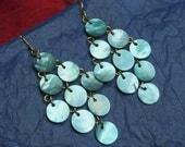 Turquoise Blue Shell Disk Earrings New Modern Gypsy Chandelier Style