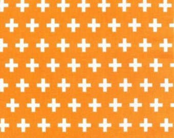Remix Tangerine Plus Signs cotton fabric - Anne Kelle for Robert Kaufman - geometric print, modern blender, orange