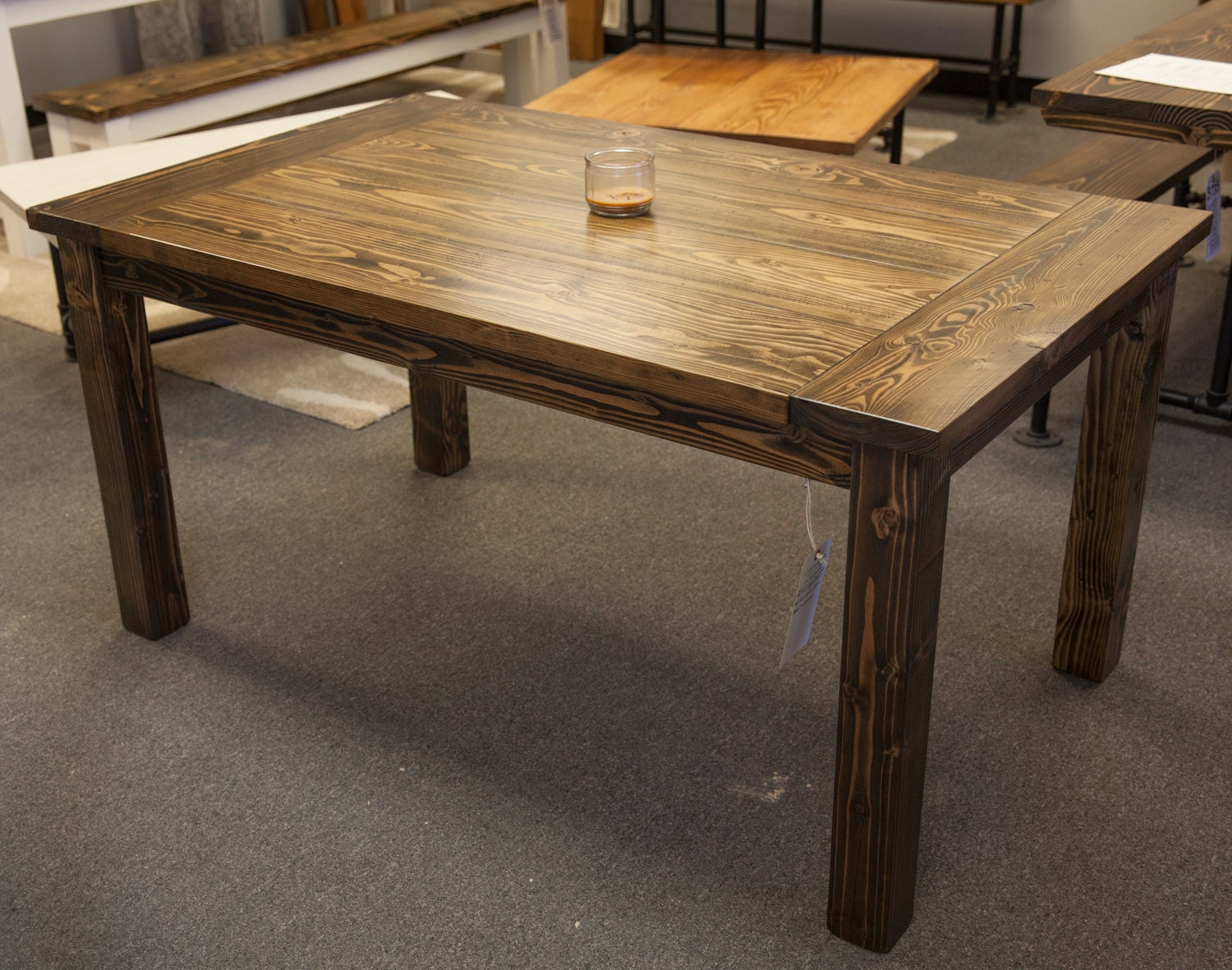 5 39 solid wood farmhouse table with breadboards by emmorworks for Solid wood farmhouse table