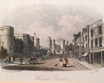SALE! Windsor Castle Aug 6 1860 by Rock & Co. London #1684 19th Century Engraving Coloured Print Vintage Art