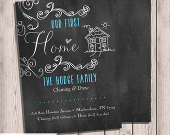 Moving Announcement, Custom Moving Announcement, Our First Home, Chalkboard Moving, Printable Moving Announcement, New Home, Chalkboard