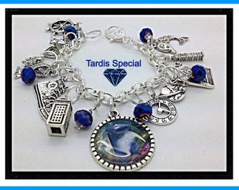 Dr Who Inspired  Charm Bracelet Tardis jewelry